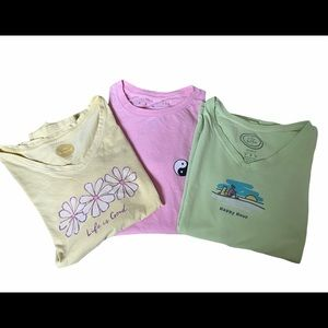 Lot of 3 T shirts Yellow Pink Green Short Sleeve M